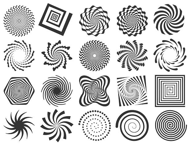Вихревой силуэт. спираль закрученного вращения, завихрения круг и абстрактные закрученные силуэты векторная иллюстрация набор