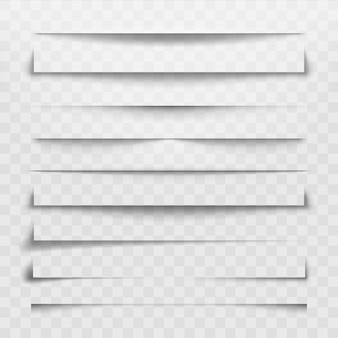 Разделительная линия или теневой разделитель для веб-страницы. горизонтальные разделители, тени, разделительные линии и углы