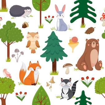 シームレスな森の動物のパターン。夏の森かわいい野生動物と森の花の漫画のベクトルの背景
