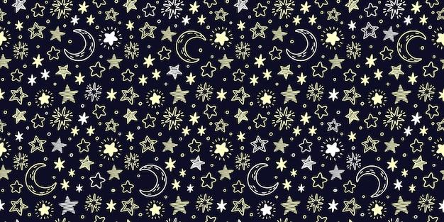 Звездный узор. звездное небо, полумесяц и ярко-желтые звезды бесшовные иллюстрации