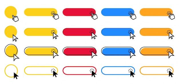 Нажмите кнопку. указатель курсора, нажимающий на кнопки, указывающий щелчок рукой и цветной набор кнопок веб-интерфейса