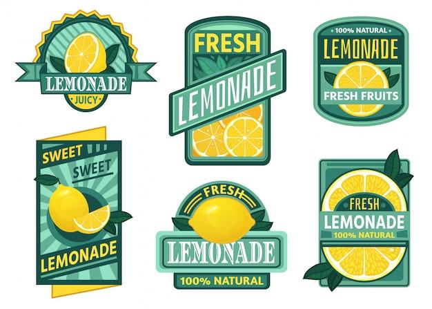 レモネードのバッジ。レモンシロップ、新鮮なレモネードエンブレム、レモンフルーツジュースドリンクビンテージバッジセット