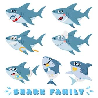 漫画のサメの家族。生まれたばかりの赤ちゃんのサメ、漫画の海洋の父と陽気な母のサメのキャラクターイラストセット