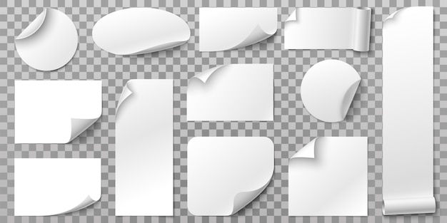 ホワイトペーパーステッカー。丸まった角、曲線の紙の端、空白のタグセットが付いたラベルステッカー