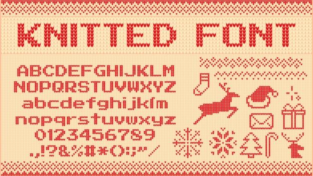 冬のセーターのフォント。ニットのクリスマスセーターの手紙、ニットジャンパークリスマスパターンと醜いセーターニットイラストセット