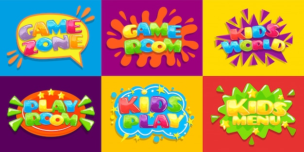 ゲームルームのポスター。楽しいキッズプレイルーム、ゲームプレイゾーンの子供と子供のためのメニューイラスト背景
