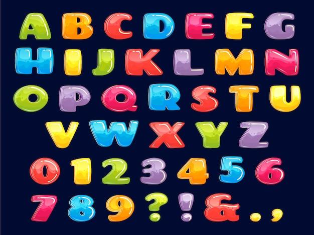 Цветной мультфильм шрифт. пухлые цветные буквы, веселые детские игры с алфавитом и забавные иллюстрации для детей