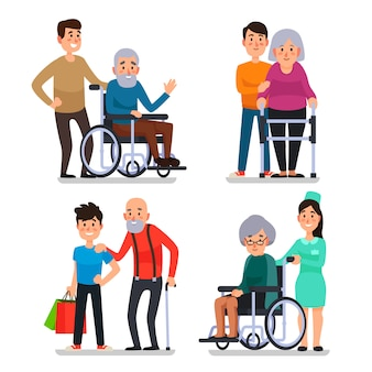 高齢の障害者を助ける