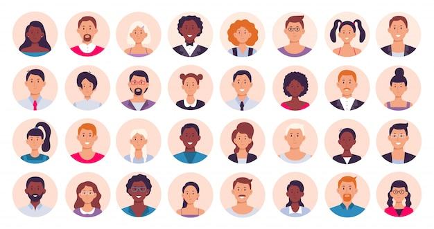 Люди аватара. улыбающийся человеческий круг портрет, женщина и мужчина лицо вокруг аватаров значок коллекция иллюстраций