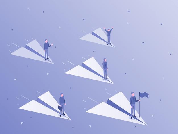 紙飛行機で飛んでいるビジネスマン。ビジネスチームリーダー、会社員、会社のチームワークイラスト