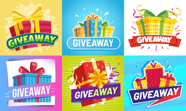 プレゼント投稿。ギフト、勝者の報酬、ギフト賞の抽選ソーシャルメディアの投稿イラストセットをプレゼント