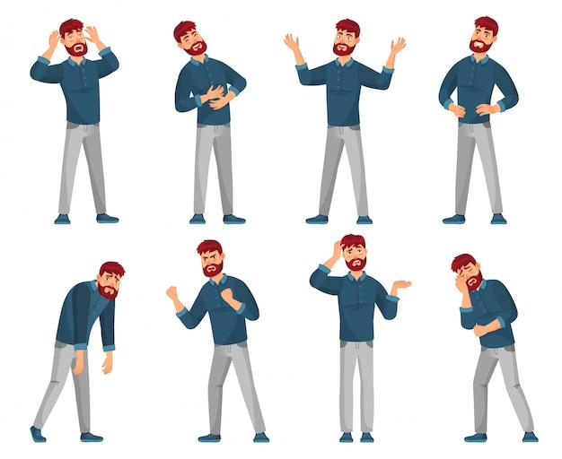 男の漫画のキャラクター。男性を考えて、笑顔の幸せな男性とカジュアルな服のイラストセットで悲しい男