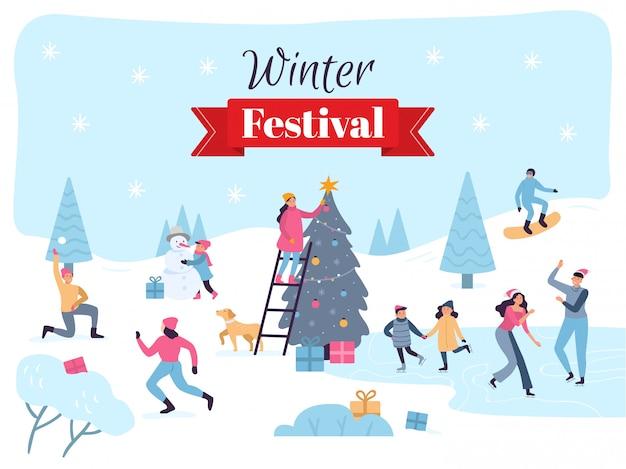 Зимний фестиваль празднование декабрьских праздников, праздничные рождественские украшения и веселые иллюстрации для семей