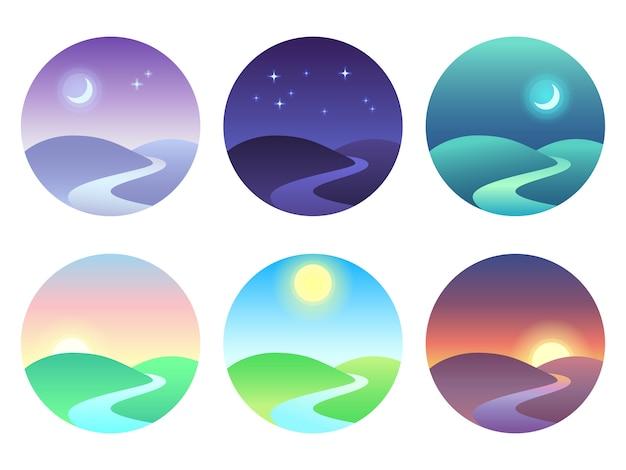 グラデーションでモダンな美しい風景。日の出、夜明け、朝、日、正午、日没、夕暮れ、夜のアイコン。