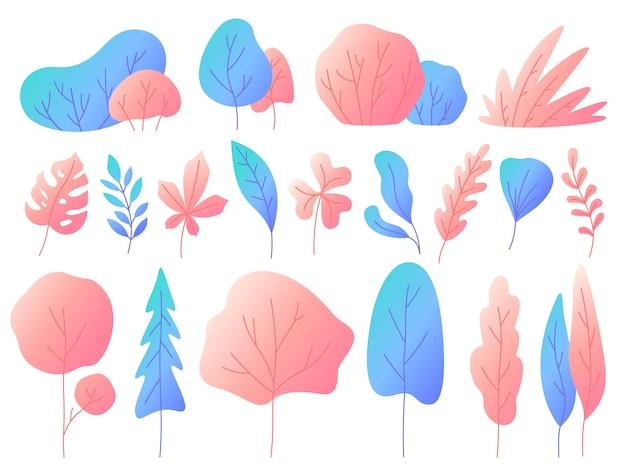 グラデーションで最小限の平らな葉