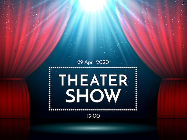 スポットライトで照らされたステージ上の赤いカーテンを開きます。ドラマティックシアターやオペラショーのシーン。