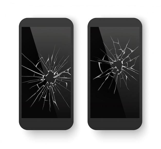割れた画面で壊れた携帯電話