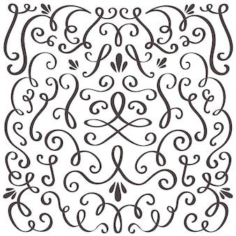 渦巻くビンテージ飾り、渦巻く境界線とシンプルなフレーム。