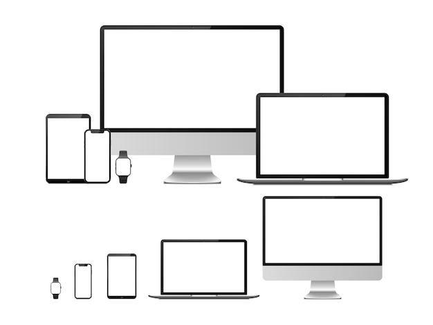 空白の白い画面を持つコンピューター、ラップトップ、タブレット、スマートフォン、スマートウォッチデバイス。