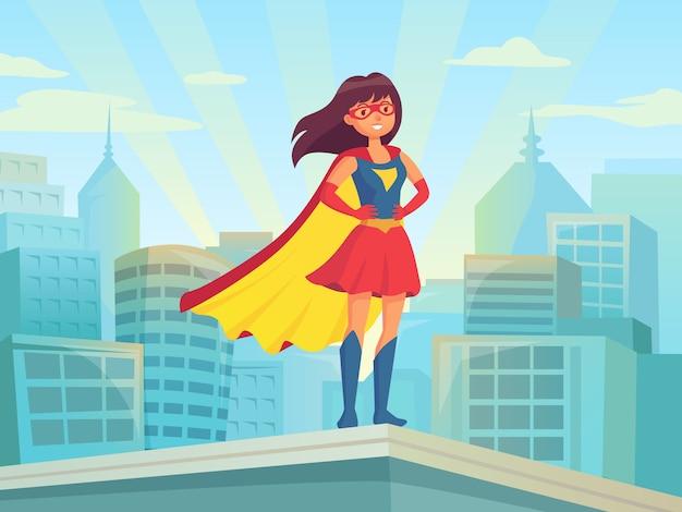Супер женщина смотрит на город