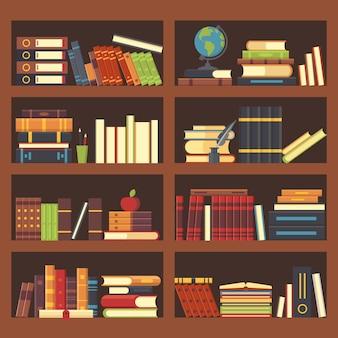 Книги в библиотеке, книжный шкаф.