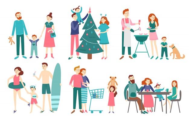 平らな家族。父、母、子供が一緒にクリスマスを祝うか、ビーチで休む