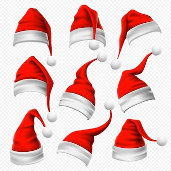 サンタクロースの帽子。クリスマスの赤と毛皮のような頭飾りと冬の休日の頭は現実的なセットを着用