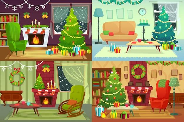 Рождественские комнаты. украшение дома, подарки санта под традиционным деревом в иллюстрации интерьера дома