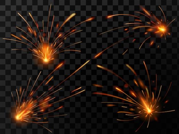 現実的な火の火花。鋼溶接または金属切断作業セットの火花流