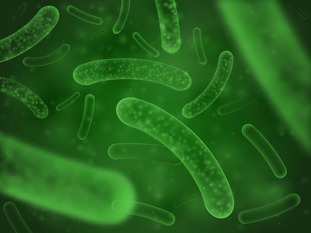 Бактерии биологическая концепция. микро-пробиотические клетки зеленый научный аннотация
