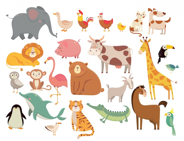 漫画の動物。かわいい象とライオン、キリンとワニ、牛と鶏、犬と猫のセット