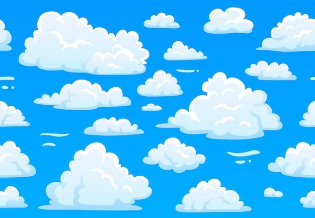 漫画の青い曇り空。白いふわふわの雲と水平のシームレスパターン。テクスチャー