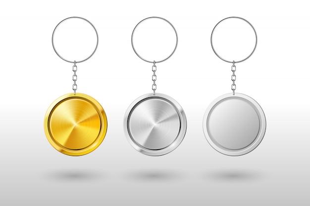 Реалистичная металлическая и пластиковая круглая подставка для ключей. макет