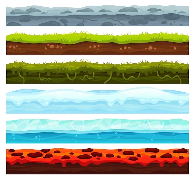 シームレスな土地層。汚れた地面の風景のゲーム資産、雪のかぶった氷、溶岩の床。漫画の表面ベクトル資産