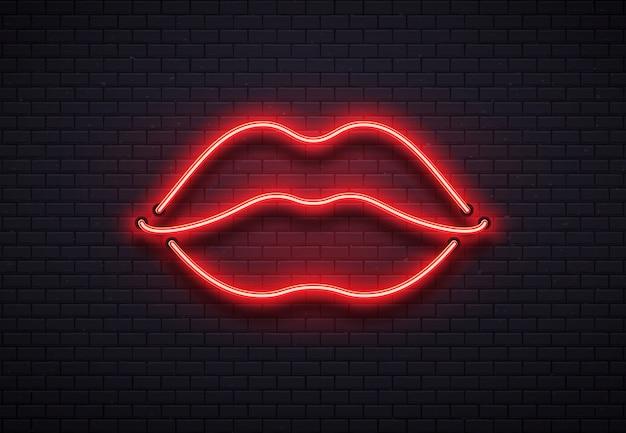 レトロなネオン唇サイン。ロマンチックなキス、キスカップルリップバー赤いネオンランプとバレンタインロマンスクラブベクトルイラスト