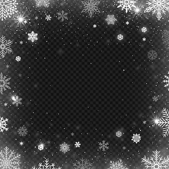 雪片フレームの背景。冬の雪の国境、霜スノーフレーク、クリスマスの冷たい吹雪