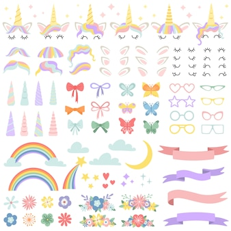 ユニコーンコンストラクター。ポニーたてがみスタイリングバンドル、ユニコーンホーン、パーティースターグラス。花、魔法の虹と頭弓ベクトルセット