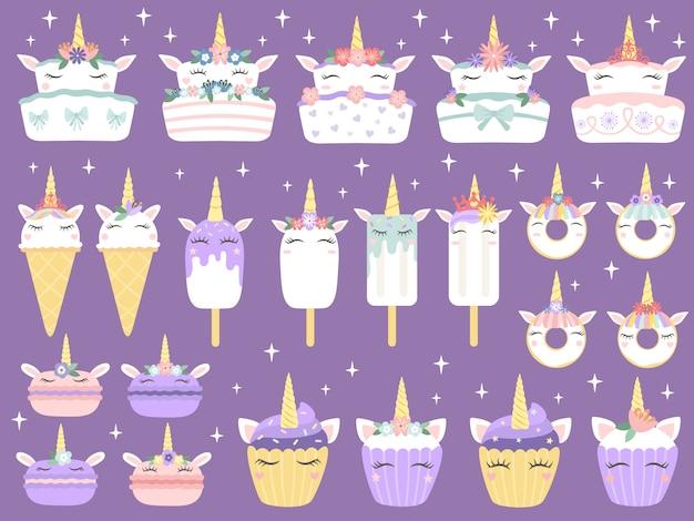 Десерты единорога. единорог макарон, вкусный торт хлебобулочные смешные шоколадный кекс и пончик. радуга мороженое и кексы векторный набор