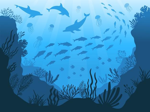 水中の海洋動物。深海の植物、魚、動物。海洋海藻、魚、動物のシルエットイラスト