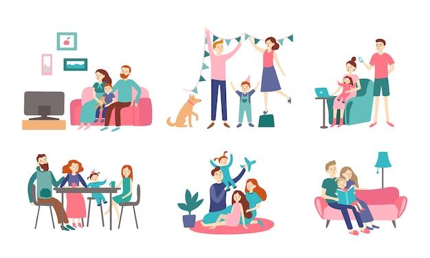家族一緒に自宅で。若いカップルは子供と時間を過ごし、本を読んで家を飾る。家庭感ベクトルフラットイラスト