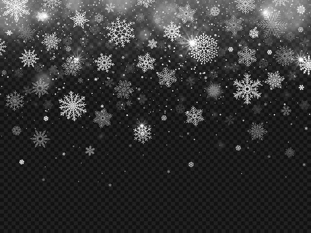 Зимний падающий снег