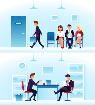 ビジネスマン、多様な従業員が順番に面接を待っています。競合する従業員およびインタビュアー