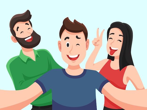 Селфи с друзьями. дружелюбные улыбающиеся подростки делают групповое фото портрет. сфотографировали счастливых людей мультфильм
