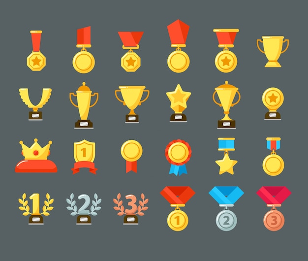 Наградные значки. золотой кубок, наградные кубки и призовые места. плоские медали, награды, символы