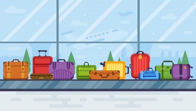 Камера хранения багажа в аэропорту. конвейер каруселей ленточный сканер багажа в салоне аэропорта, авиаперевозка