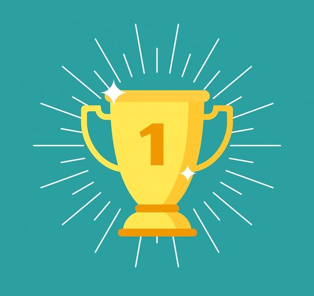 トロフィーカップ。金賞受賞、スポーツイエローゴブレット。チャンピオンシップ、成功、リーダーシップ事業