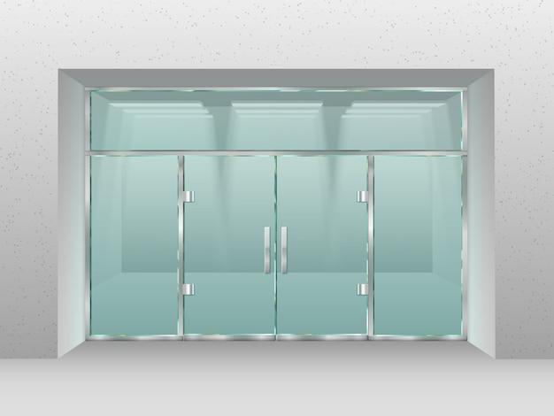 ガラス店のファサード。ショーフロントウィンドウ、小売店、または近代的なビジネスオフィス