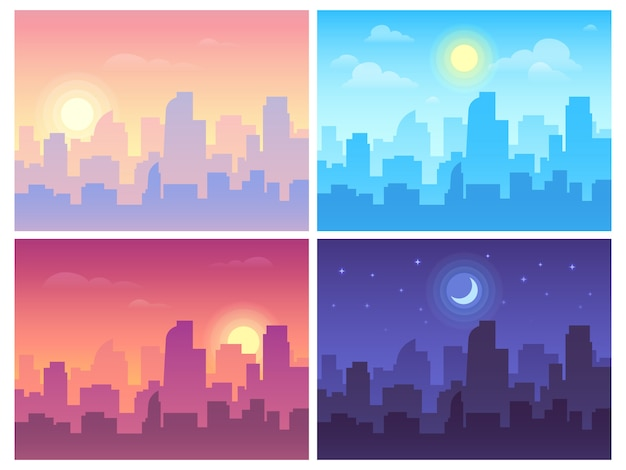 昼間の街並み。朝、昼と夜の街のスカイラインの風景、異なる時間と都市背景の町の建物