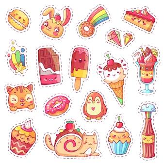 甘いイチゴかわいいピンクのデザートのパッチ