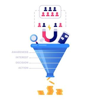ファンネルセールス。マーケティングインフォグラフィック、販売変換およびリード販売パイプライン分離イラスト